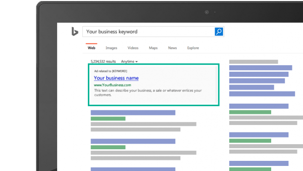 Zeumic Bing Advertising Example, Microsoft Bing Ads Campaign, Search Engine Marketing
